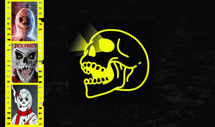 black background with yellow skull and yellow movie reels with clips of jack frost movie