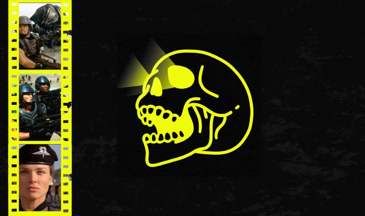 black background with yellow skull and 3 movie reels from starship troopers