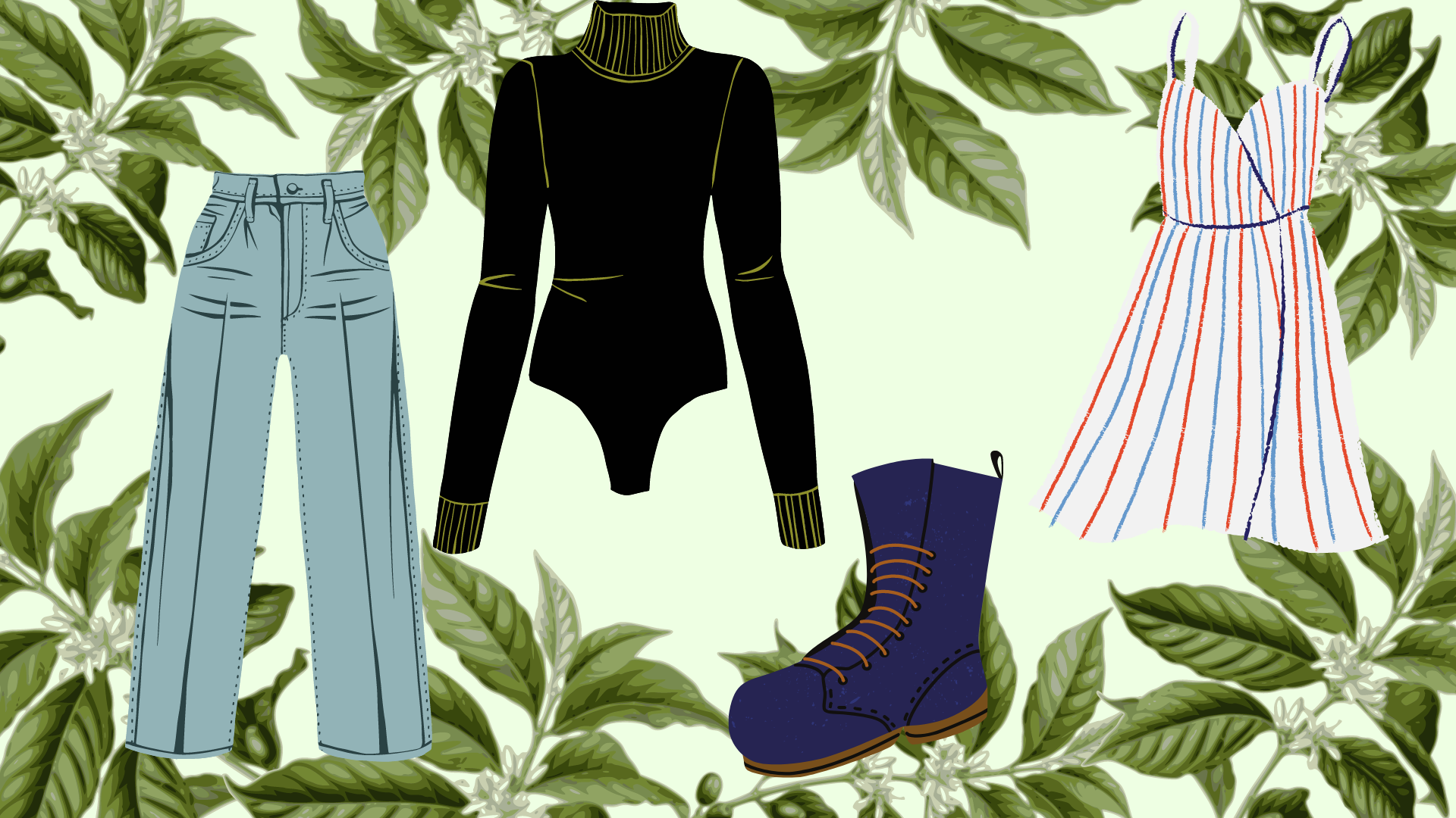 Green background with drawings of pants, turtle neck, boots, and dress