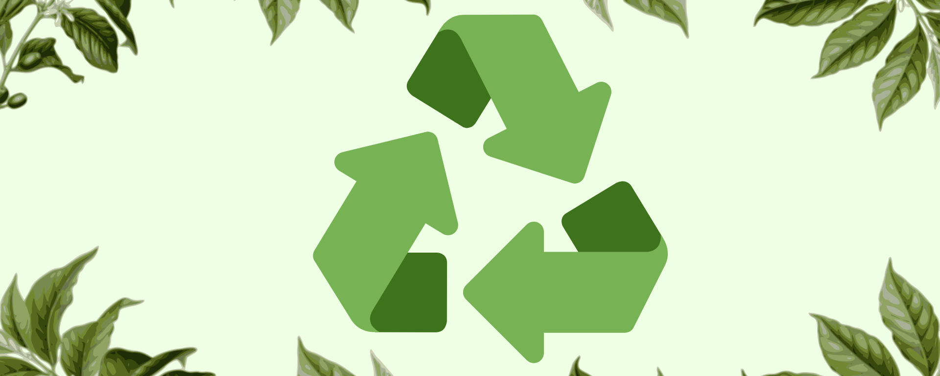 Green background with drawing of recycle symbol