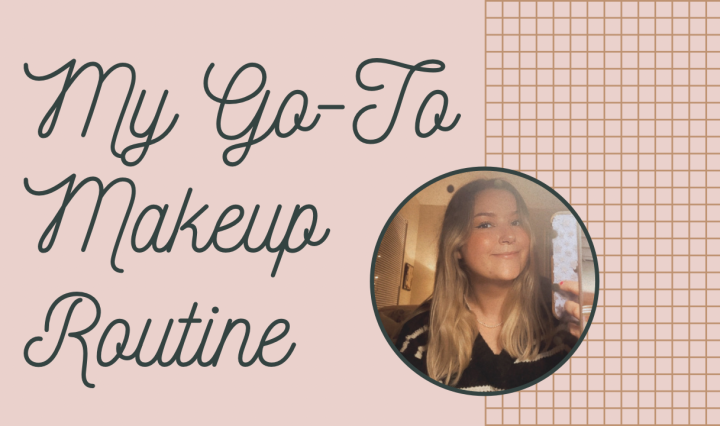 """My Go-To Makeup Routine"" typed over a tan background"