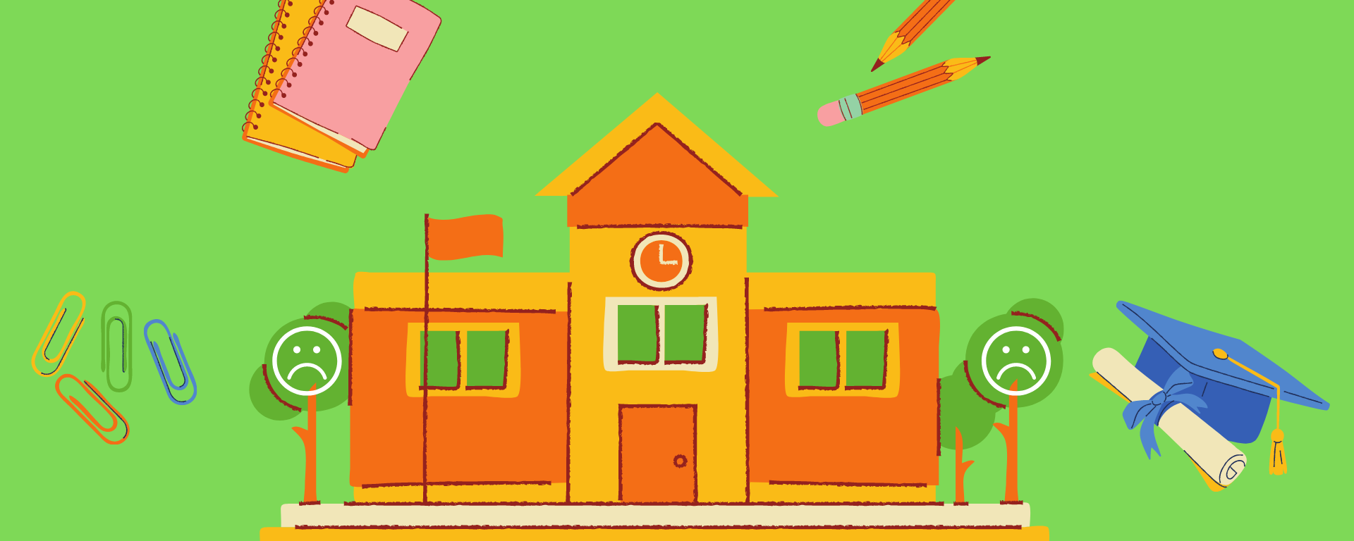An illustration of a school and other school related objects against a green background