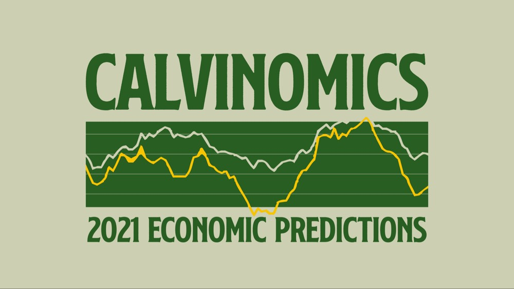 green text on light green background saying Calvinomics with green graph with yellow lines showing trends and in green says 2021 economic predictions