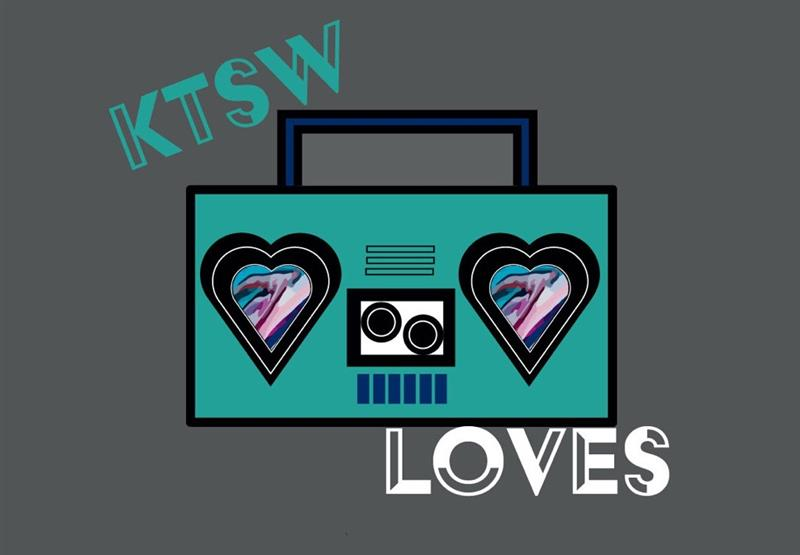 KTSW Loves written over teal boom box