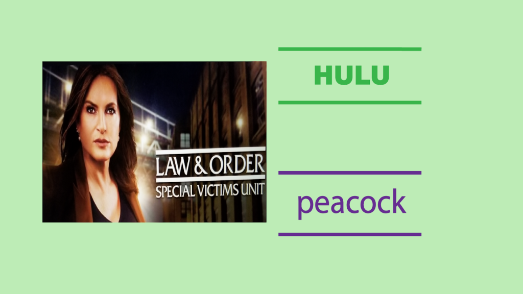 Image of Law and Order SVU screenshot with Hulu and Peacock text