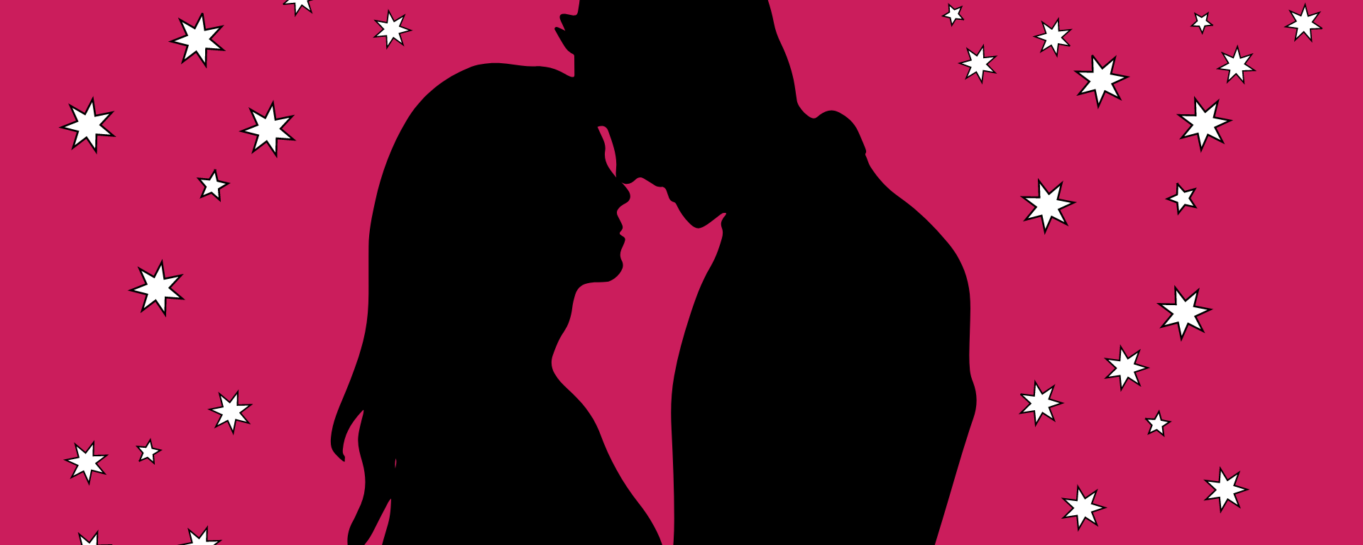 A couple on a pink background with sparkles