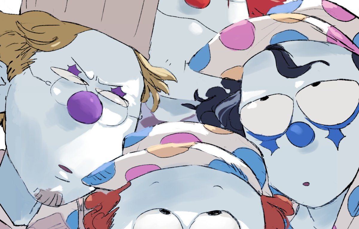 A portrait still image of a group of clowns looking at each other with confused looks.