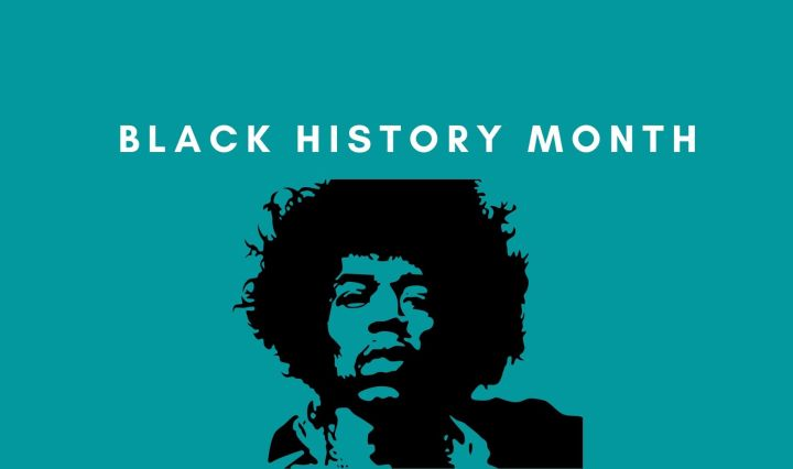 "An image with a blue background, Jimi Hendrix and the text ""Black History Month."""