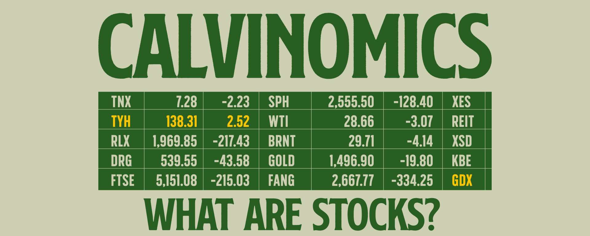 green text on light green background saying Calvinomics what are stocks? with green and yellow stock grid.