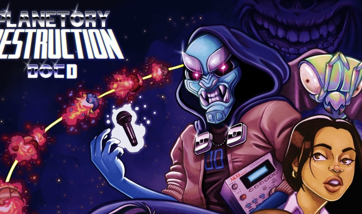"The cover art depicts the Doctor Destruction character alongside the characters that make an appearance in the album such as DJ Buck Naked, Kyle, and Sharon, around them is a spaceship that's going through planets referencing the album's title ""Planetory Destruction"""