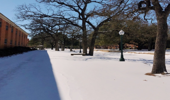 The snow at Tarleton State University's campus