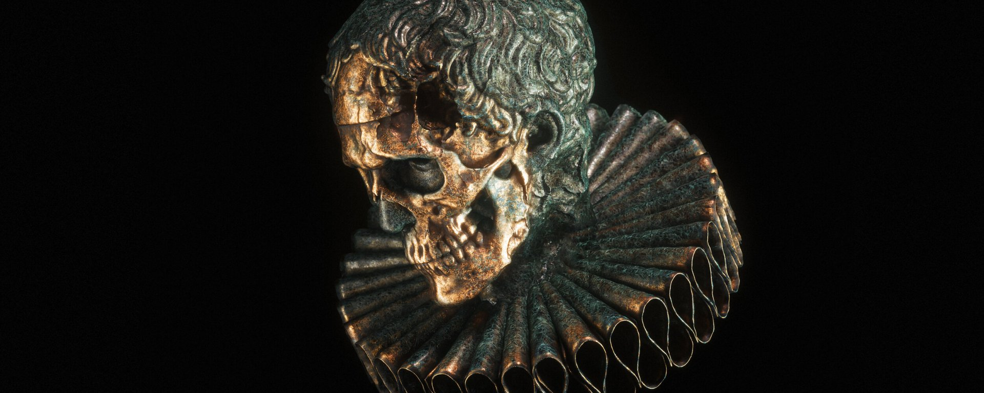 A golden skull with a frilled collar around its neck