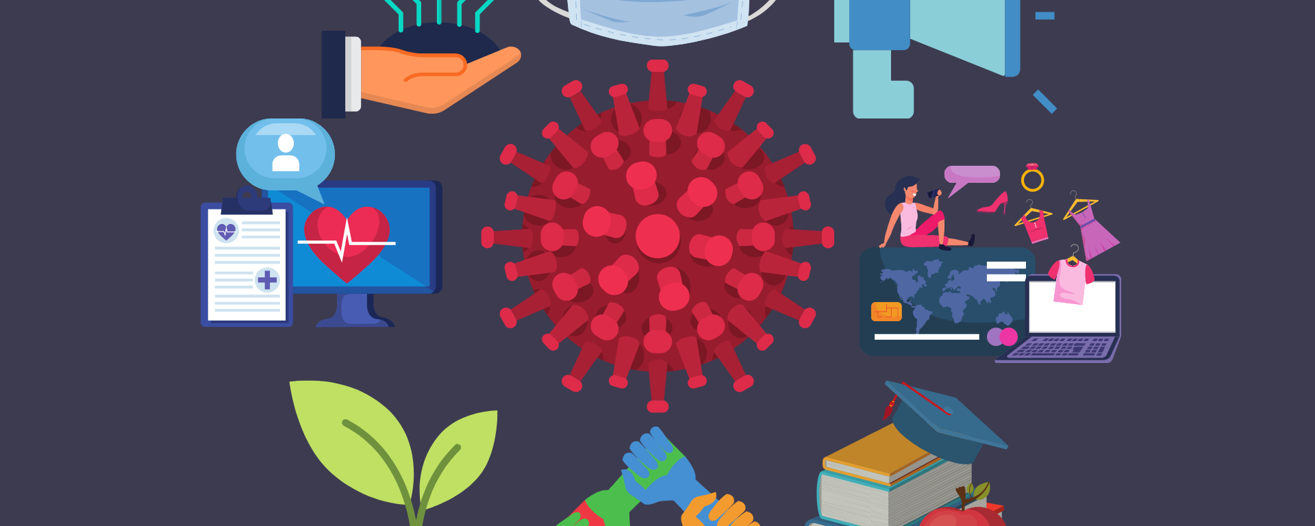 Illustration of the coronavirus, and various cartoon drawings of items such as masks, computers, and books surrounding it.