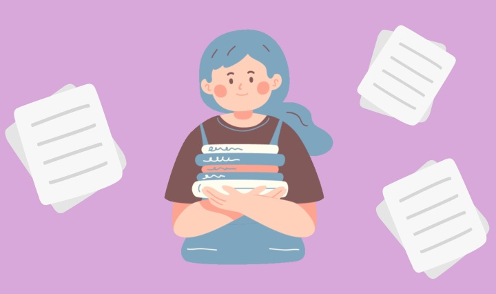 Light purple background with illustrations of a girl with books and papers surrounding her.