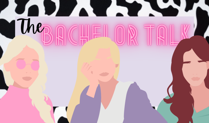 "Image of three cartoon girls in front of the title, ""The Bachelor Talk"" with a cow print trim"