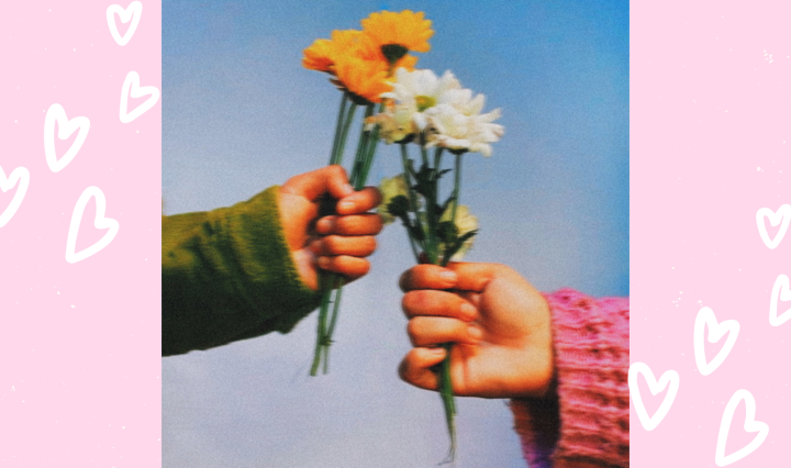 """Eros of Dream"" EP cover art by Martin Delgado, an image of two hands holding flowers."