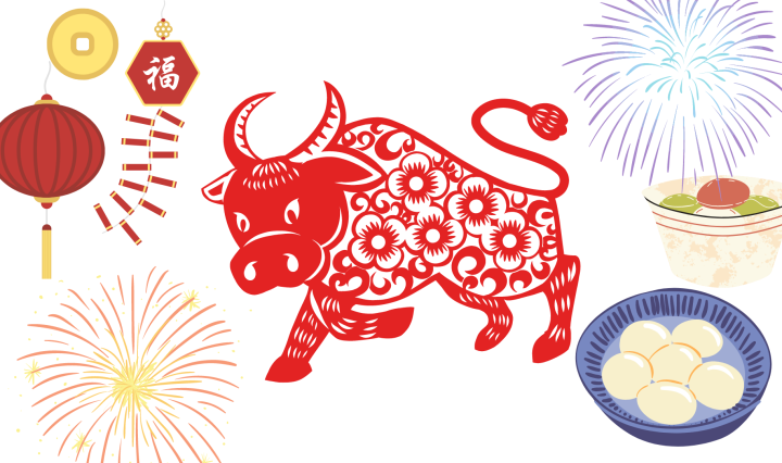 Image of a red ox, with various New Years festivities around him such as food, fireworks, and lanterns.