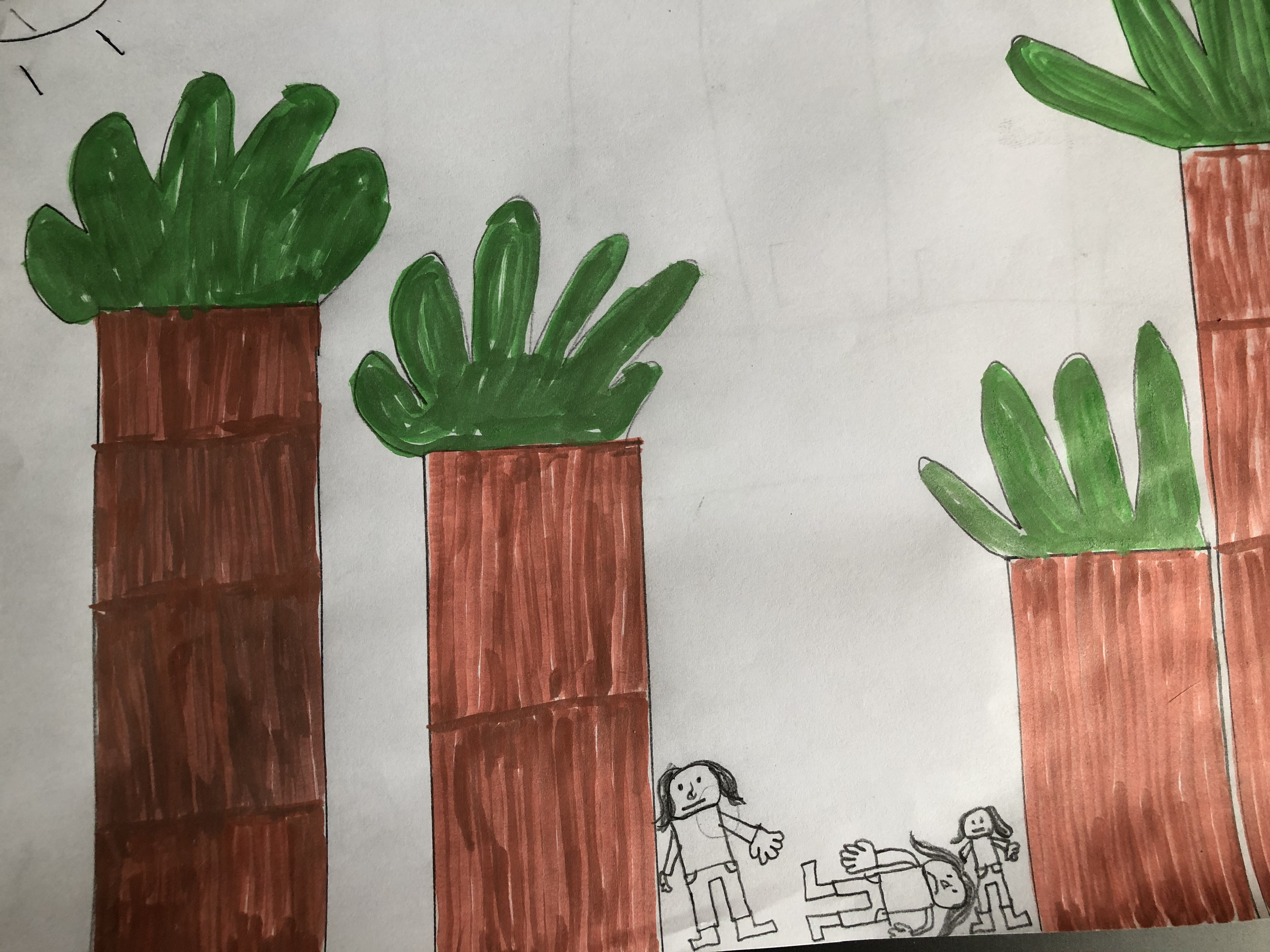 Drawing of trees and someone fainting in the middle