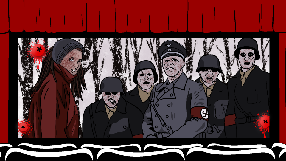movie theatre graphic with scene from dead snow on the screen.