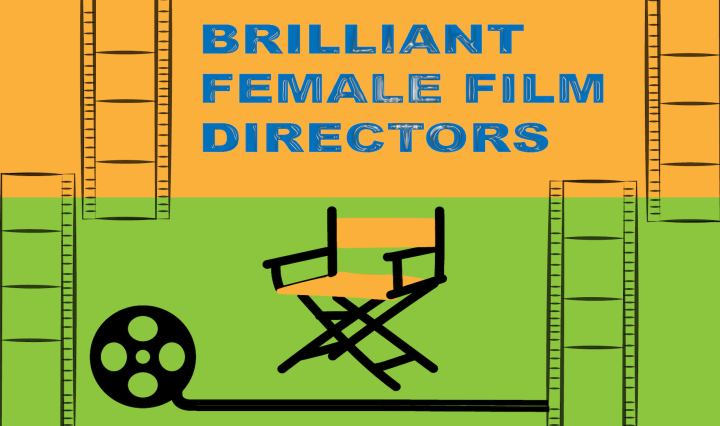 "film reels surrounding words ""brilliant female directors"" with a film reel and a director's chair underneath"