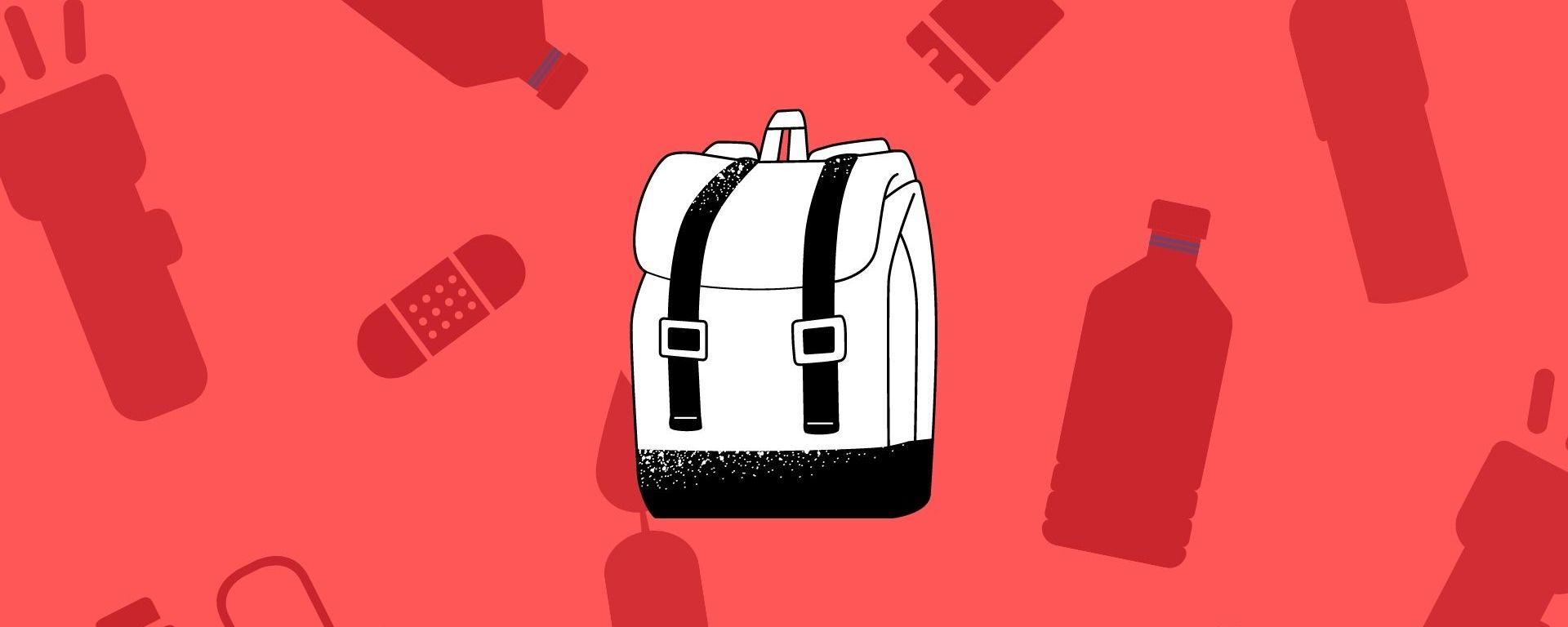 An image with a red background, a black and white backpack and dark red survival items surrounding it.