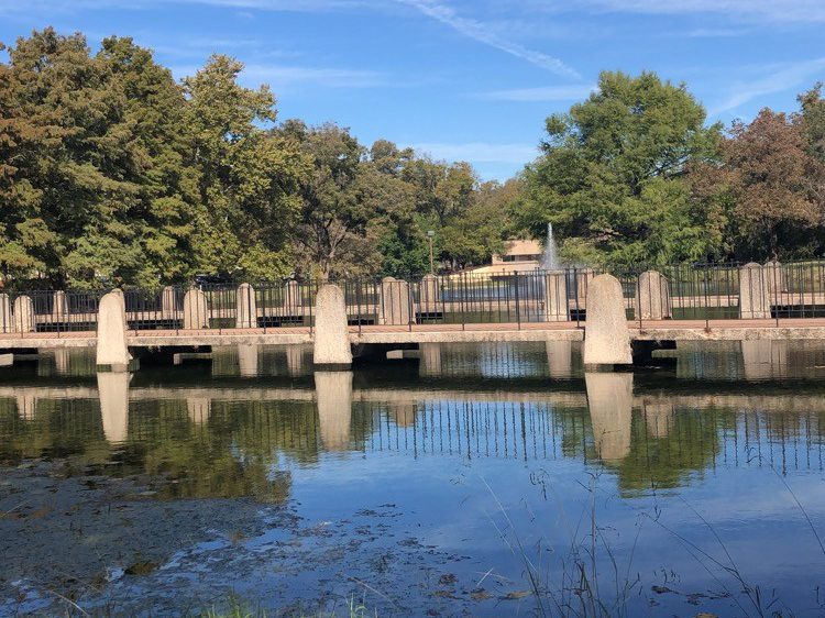 A pond with a bridge and a blue sky over with trees in the background.