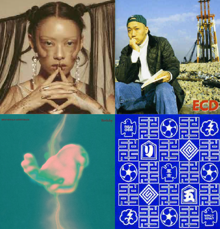 collage of rina sawayama, brother sun sister moon, ecd, and rip slyme album covers