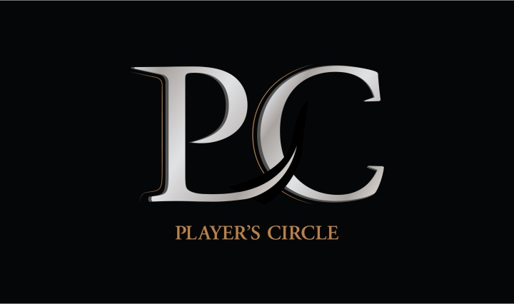 black background with PC logo in white with players circle in gold below