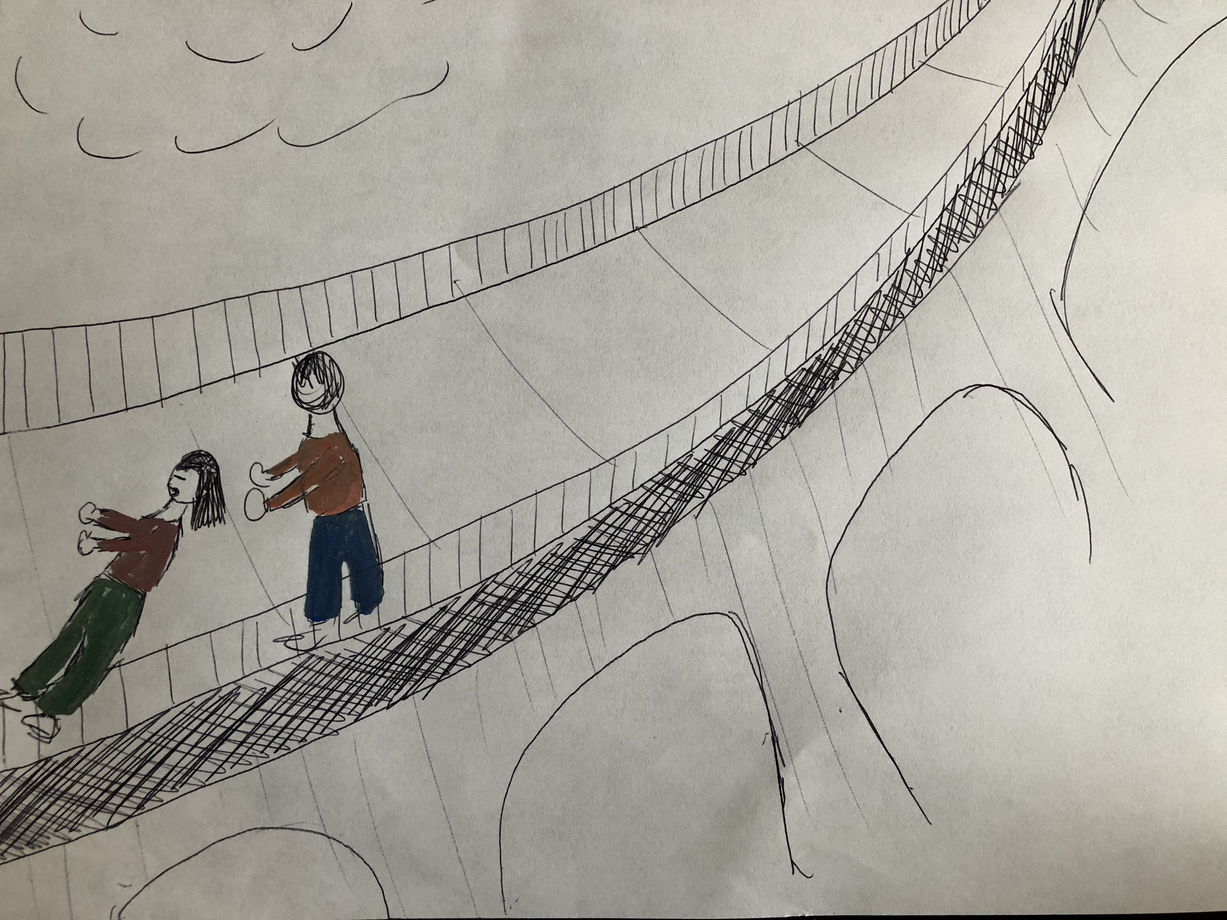 Drawing of a bridge and cloud with two people on the bridge.