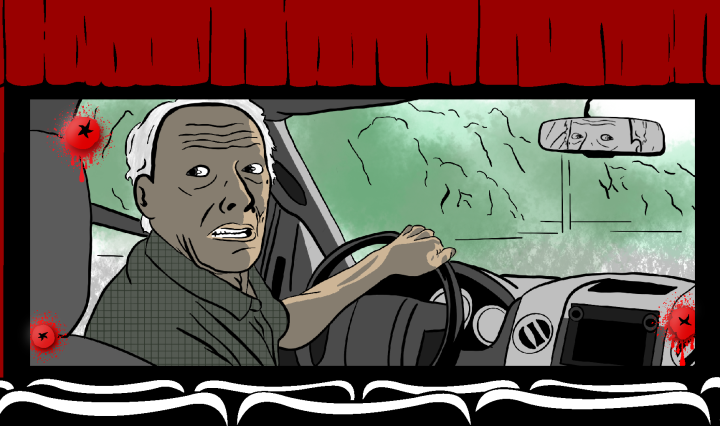 movie theatre graphic with scene from the mule on the screen.