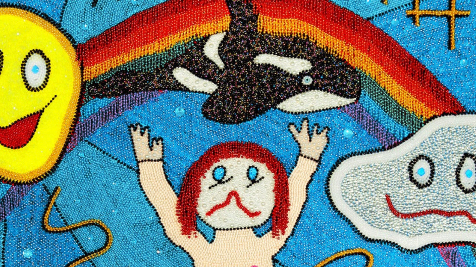An art photo of a rainbow, a flying whale, a smiling sun and cloud, and a man with red hair being eaten by another in the ocean