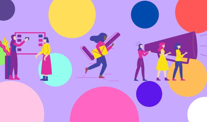 Purple background with multicolored (dark purple, blue, green, white, yellow, orange, red, and pink) polka dots floating around. In the center are three images of women learning/organizing their plans, voting, and being activists for their cause.