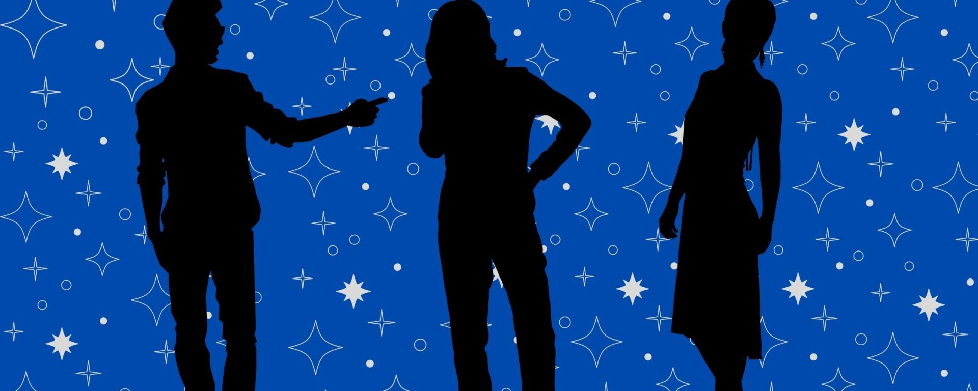 Solid blue background with black outlines of three people standing with sparkles of different shapes and sizes in the background.