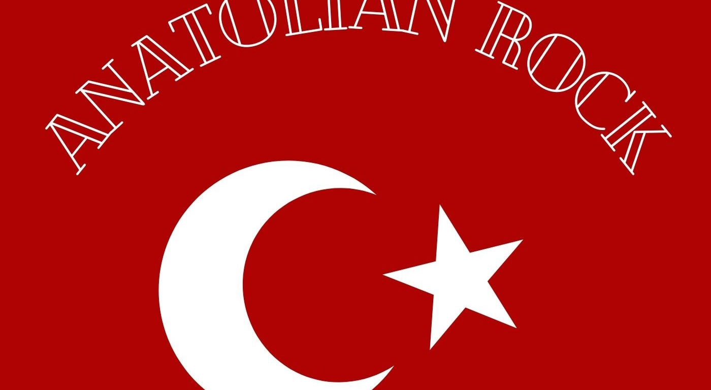 "A red background with symbols of a crescent moon and star, along with white lettering, spelling out ""Anatolian Rock"""