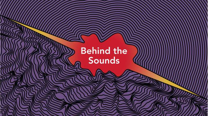 A red blotch in the middle with the words Behind the Sounds written in and the remaining area is purple with black squiggly lines