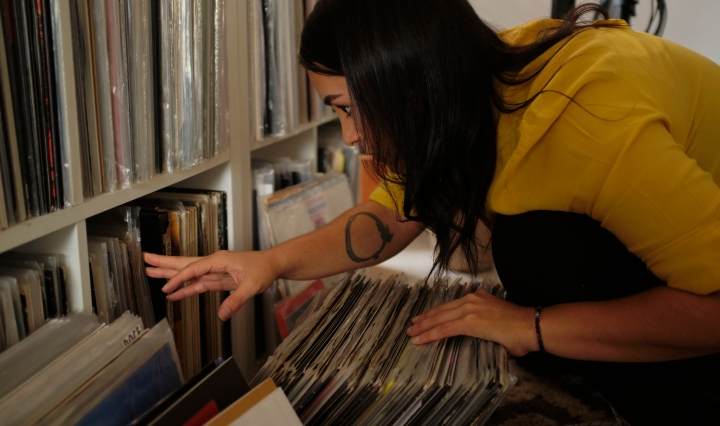 A women looking through Records