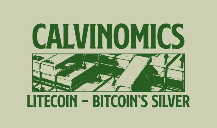 "A tan background with the words in green ""Calvinomivs Litecoin- Botecoin's Silver"""