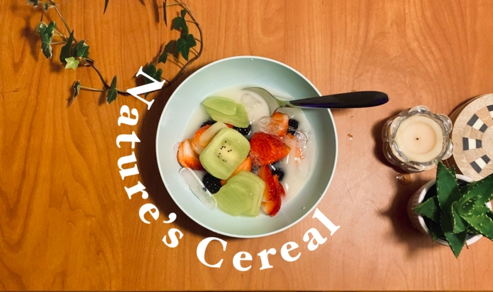 "Photo of strawberries, blackberries, kiwi and coconut water in a bowl with the words ""nature's cereal"" around it"