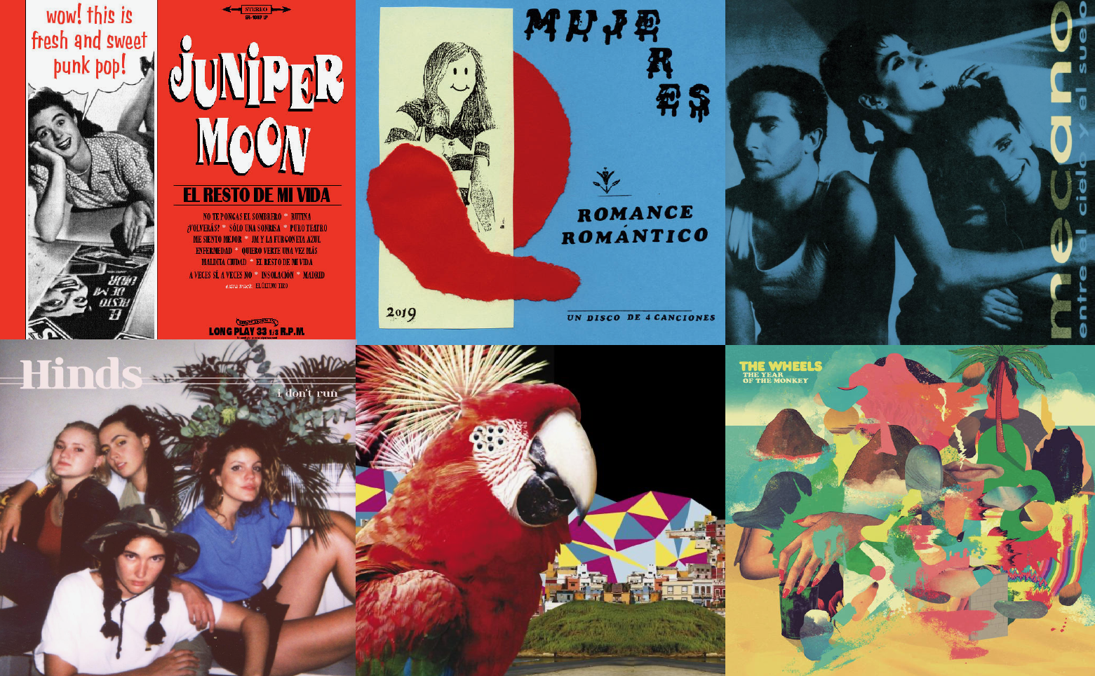 collage of albums of bands Juniper Moon, Mujeres, Hinds, El Guincho, Mecano, and The Wheels