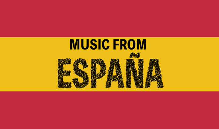 "words ""Music from España"" with Spain flag colors"