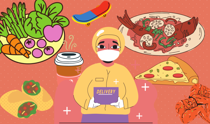 Illustration of a woman delivering a box with a background of produce, burritos, pizza, coffee, skate board and chicken wings.