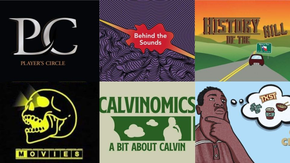 An image with 6 of the podcast and segment artworks.