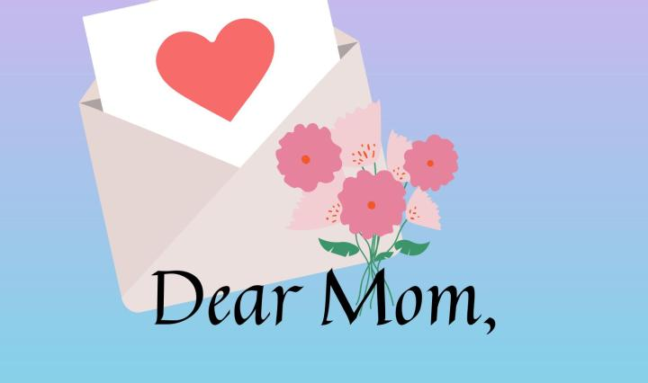 Graphic of a blue and pink gradient background with an open letter, red heart, and small flower bouquet.