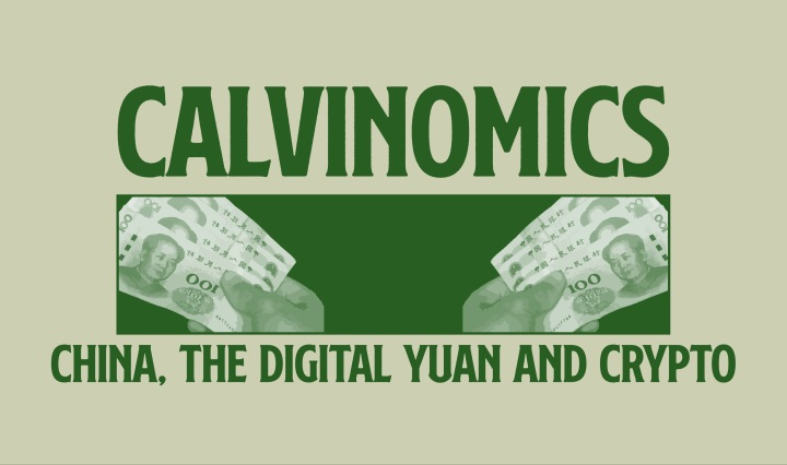"""China, the Digital Yuan and Crypo"" all in green font on a tan background."