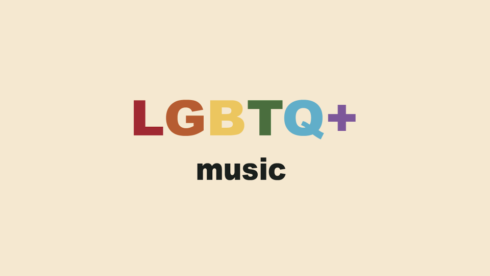 """words """"lgbtq music"""" written over colored background"""