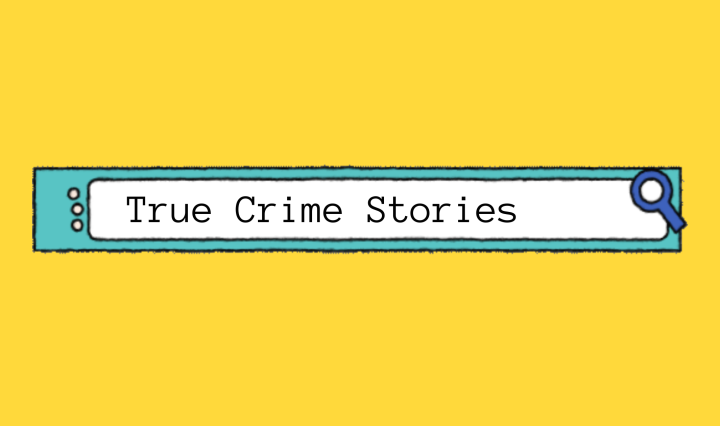 """Browser search bar containing """"True Crime Stories"""" on solid yellow background."""