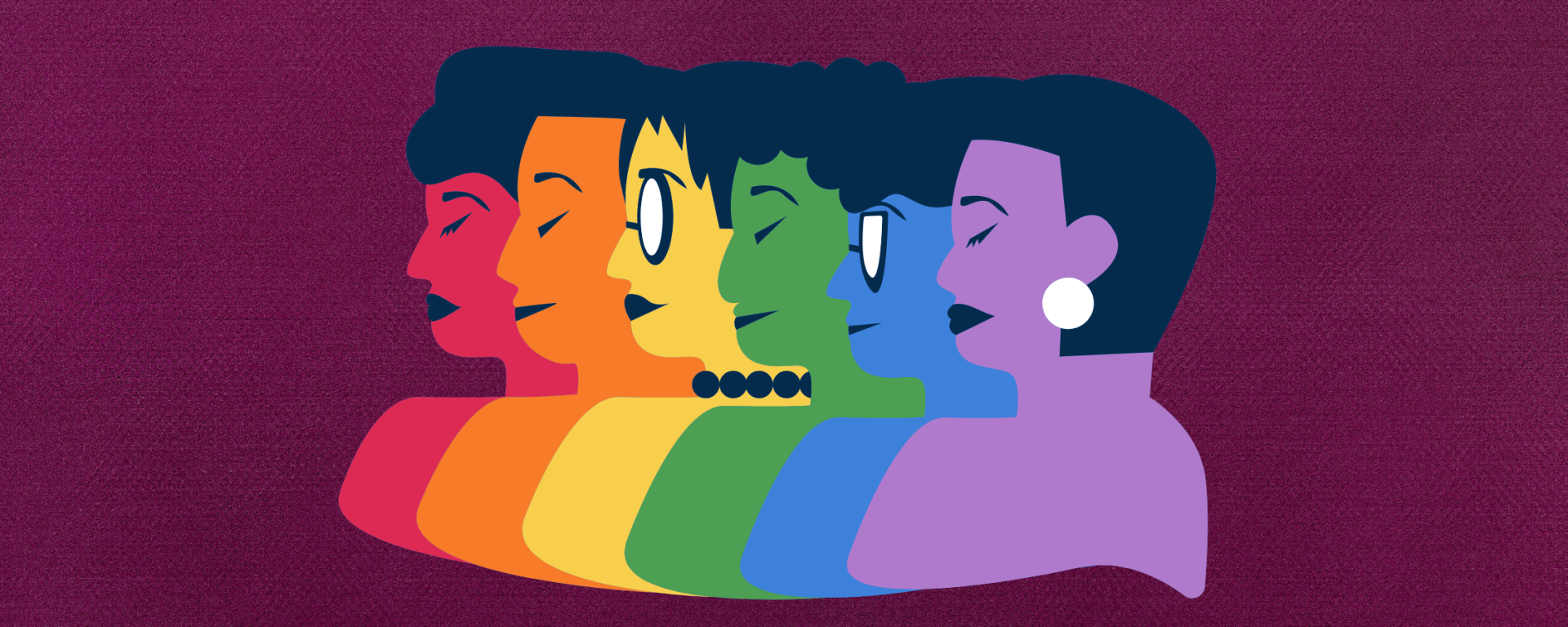 Purple background with a sticker including several faces, each a different color of the rainbow.