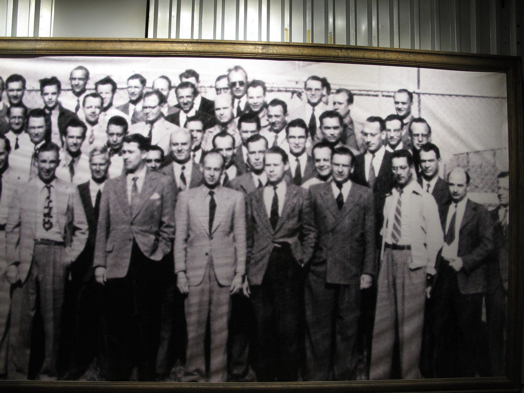 A photo showing a group of Nazi scientists dressed up and looking at the camera.