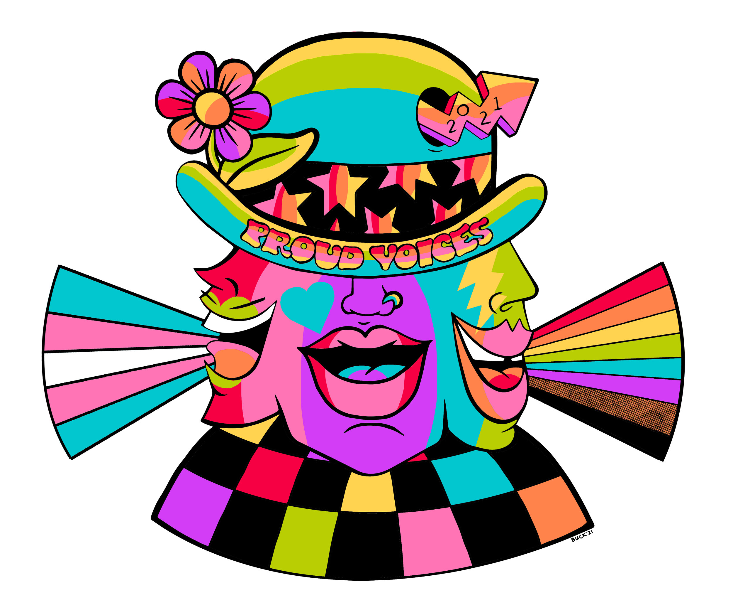 Three-face head with clown hat and rainbow colors.